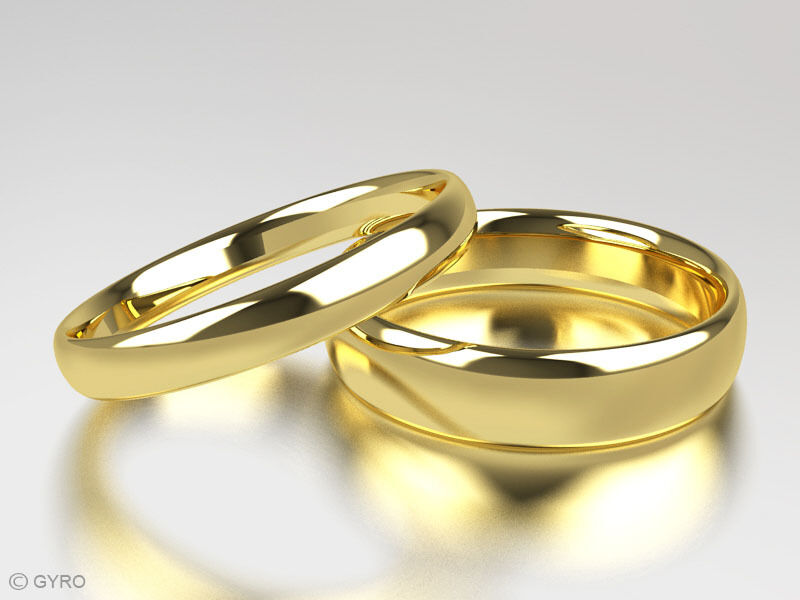 9ct Yellow Gold His And Hers Set Of Wedding Rings Court