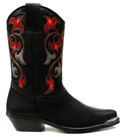 Ladies Western Cowboy Cowgirl Boots Navajo Black Leather