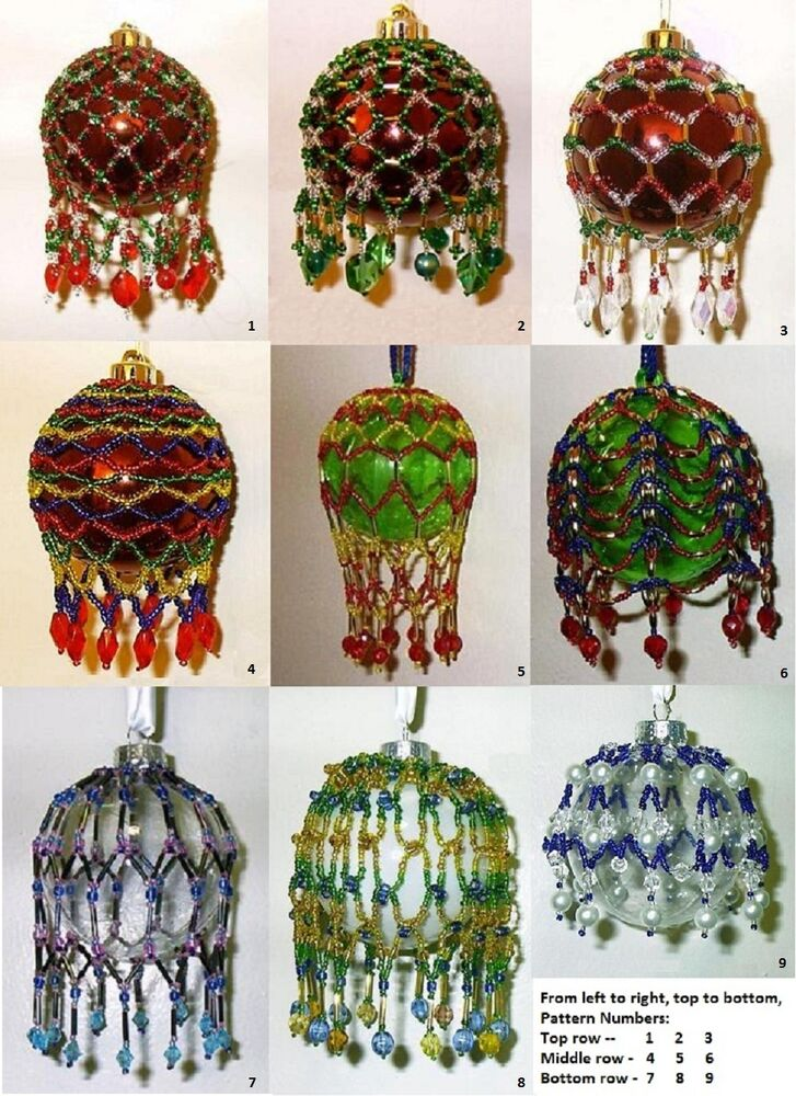 PATTERN SALE - Beaded Christmas Ornament Covers - Choose 3 ...