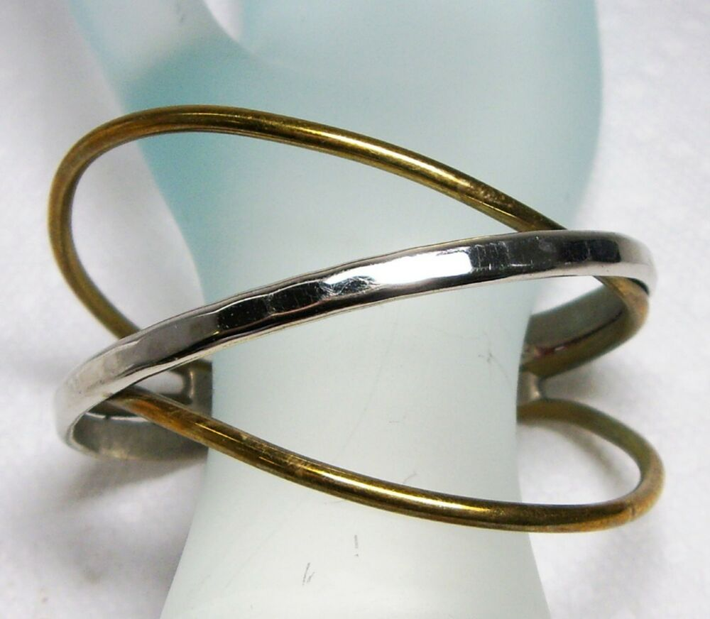 Vintage sterling brass artisan hand forged modernist