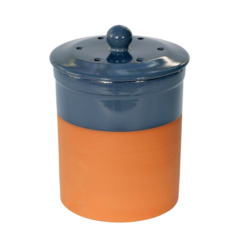 Chetnole terracotta compost caddy blue ceramic kitchen for Ceramic bathroom bin