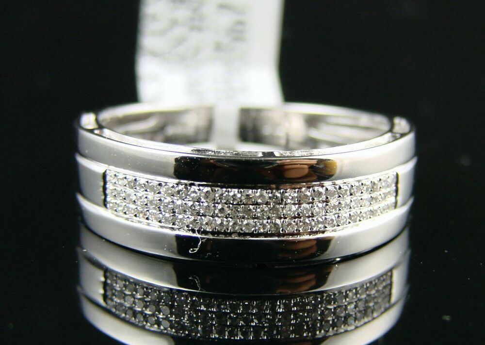 11 Mm Mens Wedding Band By 8 White Gold Finish Ring 1