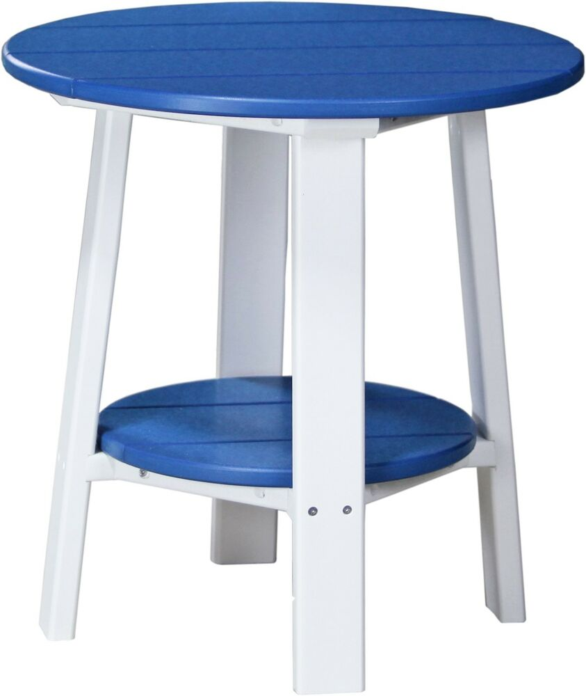 Outdoor poly furniture wood deluxe end table blue black for Outdoor furniture end tables