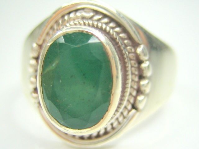 11 5 W1 2 2 28CT VINTAGE NATURAL EMERALD STERLING SILVER MENS RING