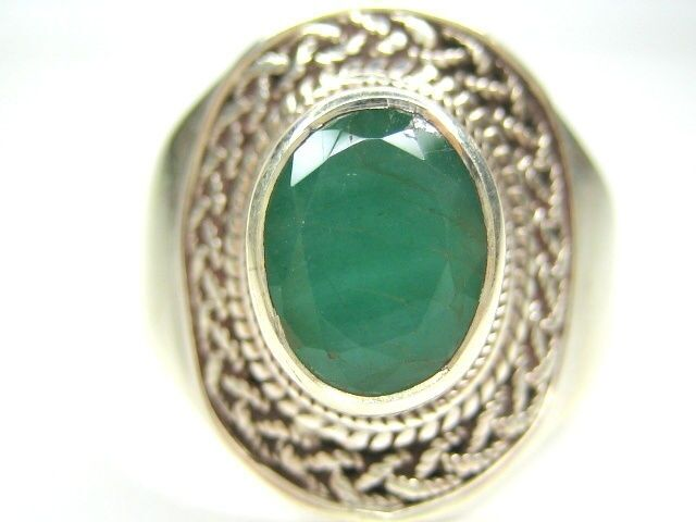 11 V1 2 2 26CT VINTAGE NATURAL EMERALD STERLING SILVER MENS RING