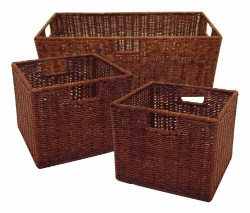 Winsome Wood Leo Wicker Storage Baskets 3 Set Home Garage