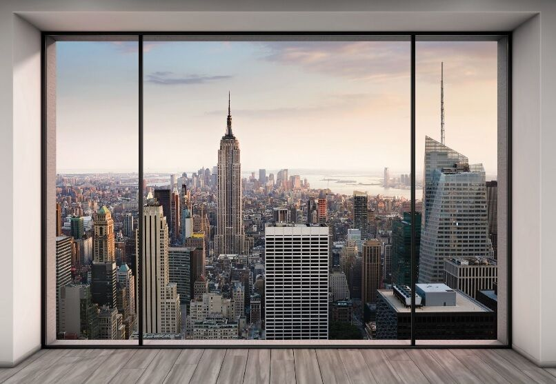 Wall mural new york city skyline penthouse photo for Black and white new york mural wallpaper