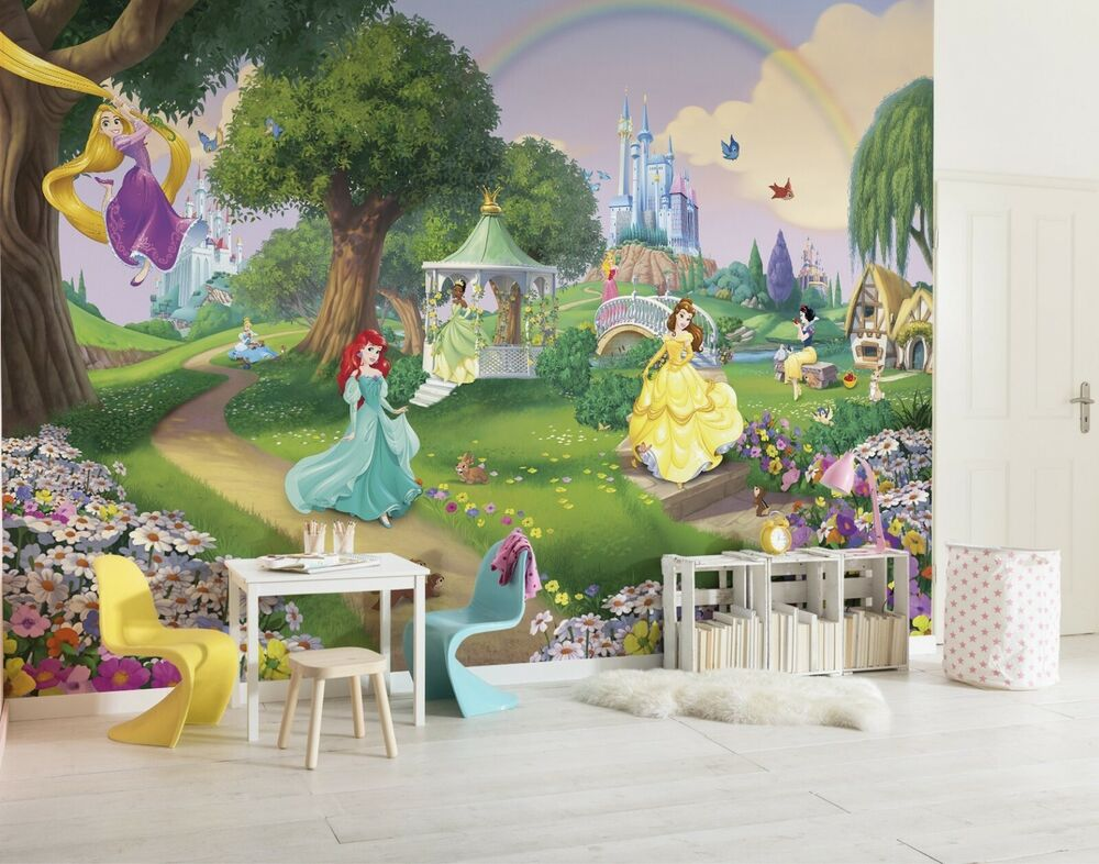 Wall mural photo wallpaper princess castle disney for kids for Disney princess wallpaper mural