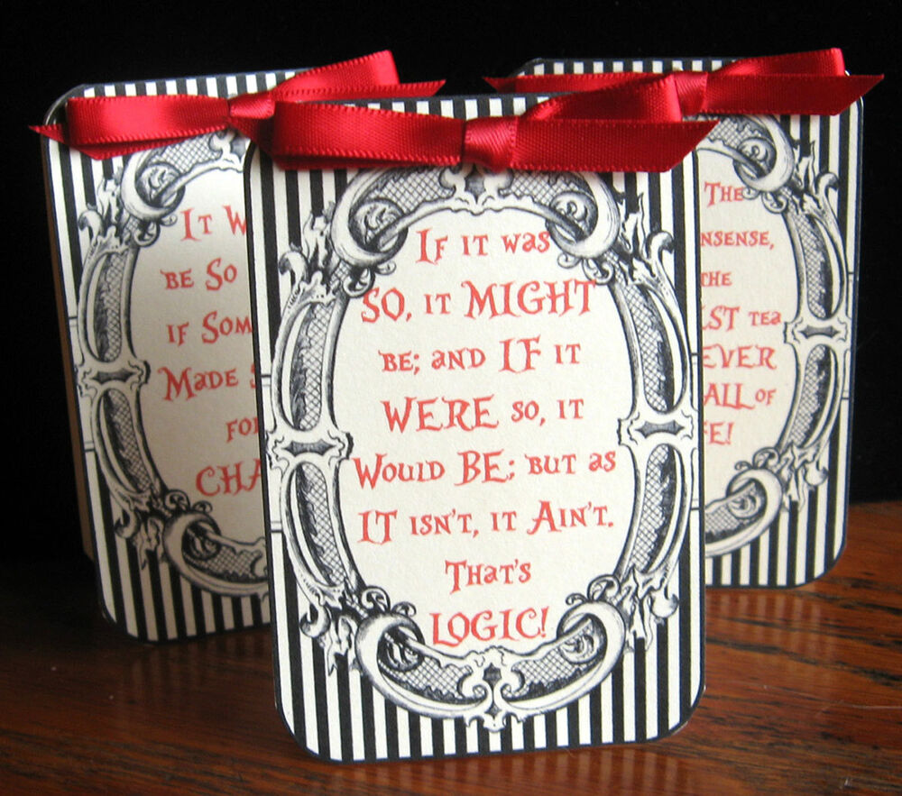 Alice in wonderland black quote tent cards party table for Decoration quotes sayings