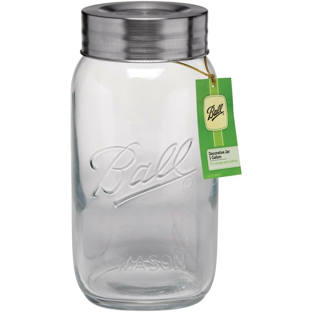 1 gallon large decorative mason jar w lid big clear glass container ball 700163 ebay. Black Bedroom Furniture Sets. Home Design Ideas