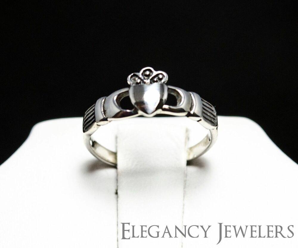 Adjustable 925 Sterling Silver Small Dainty Claddagh Love