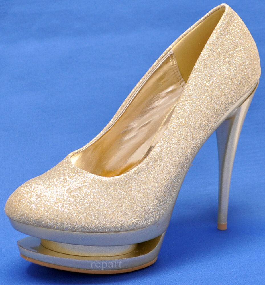 Details about New women s shoes high heel pumps stilettos gold glitter  evening prom wedding c102f3a35