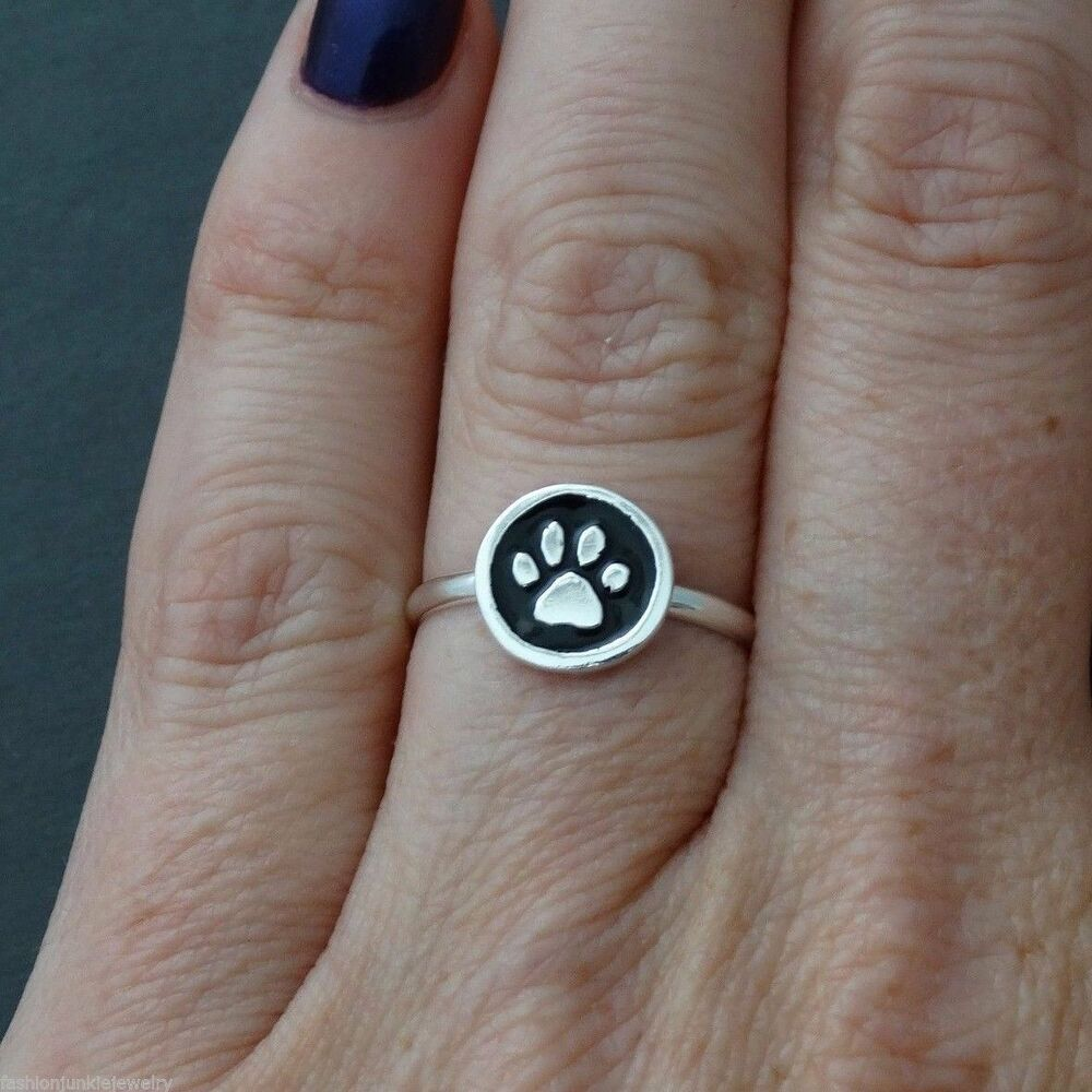 Paw Ring  Sterling Silver Paw Print Dog Cat Ring Jewelry New