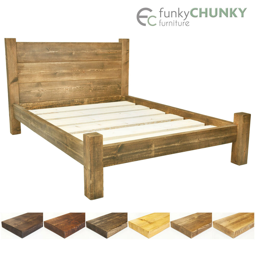 Bed frame chunky solid rustic wood with headboard and for Wooden bed frame with headboard