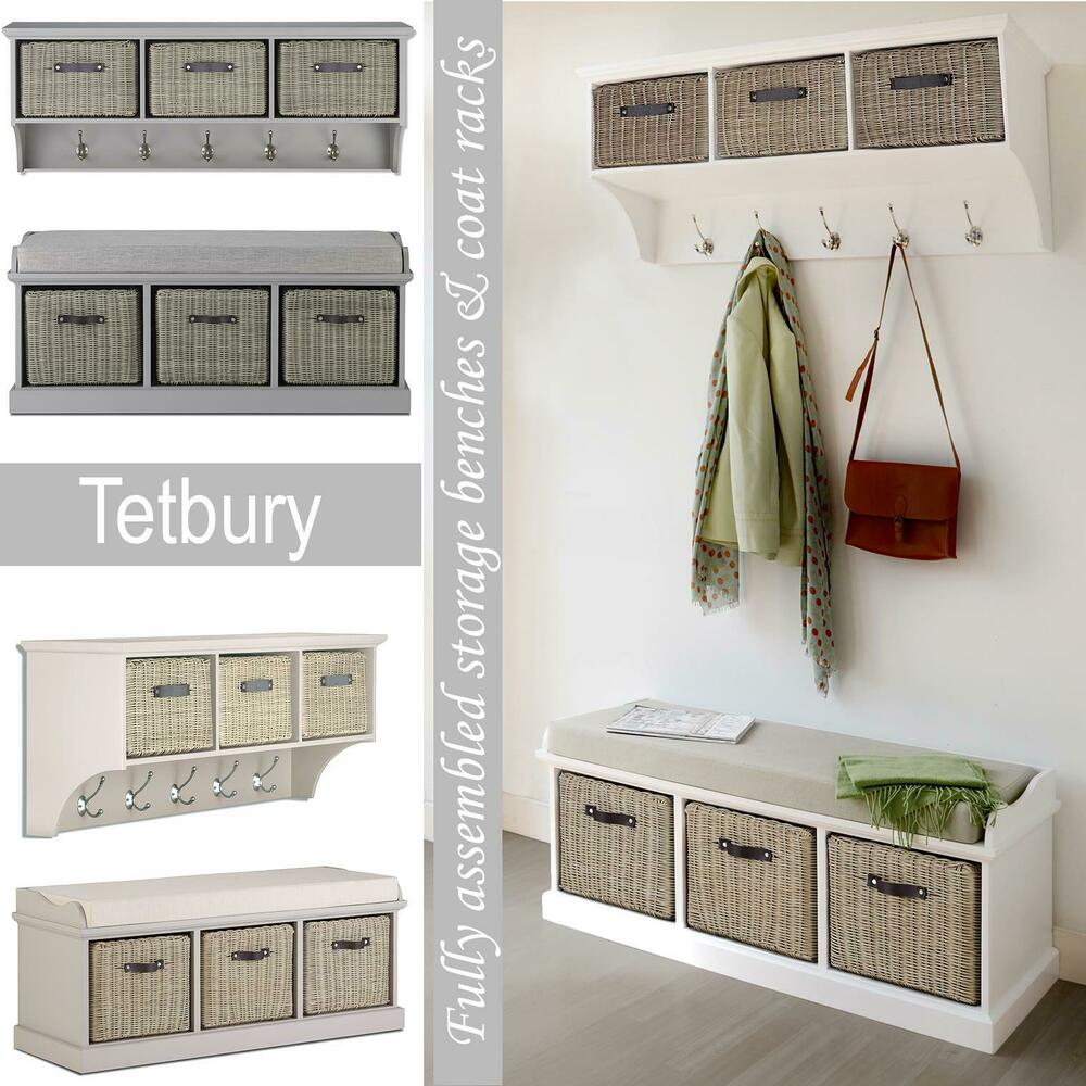 Tetbury Hallway Bench White Hallway Storage Bench With Cushion Hanging Shelf Ebay