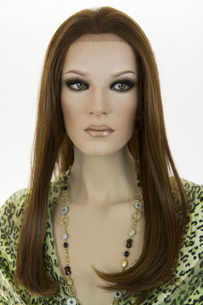 Dark Brown, Auburn mix streaks Light Straw. Long HumanBlend Lace Front Wigs | eBay