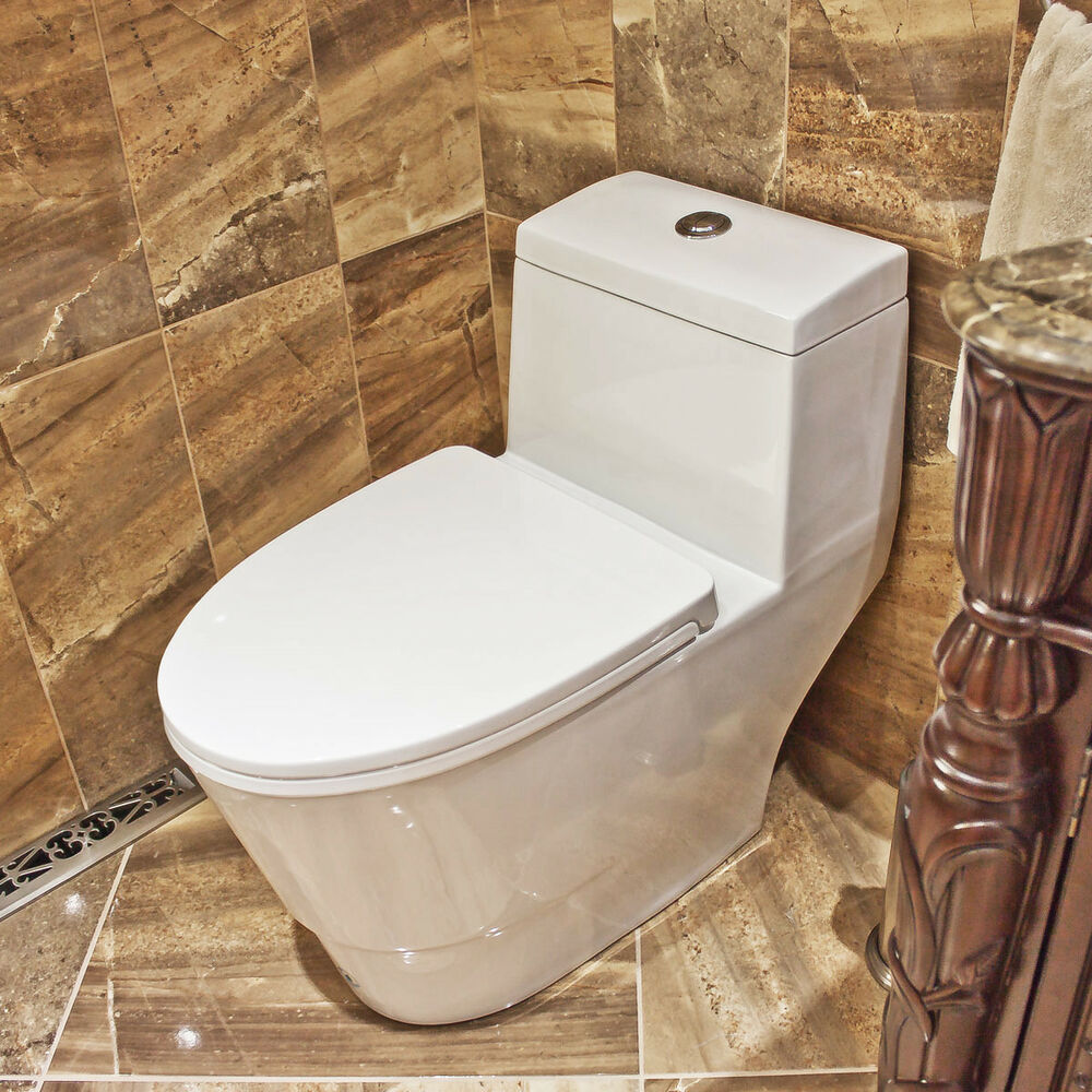 soft close one piece modern white ceramic toilet lt3 with dual flushing system ebay. Black Bedroom Furniture Sets. Home Design Ideas