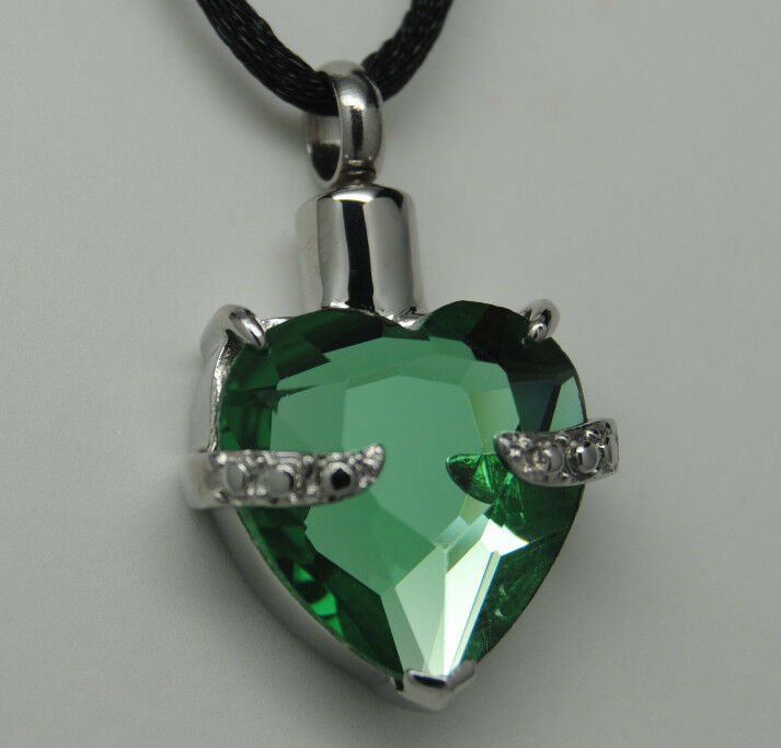 Emerald green heart cremation urn necklace cremation for Fish urn necklace