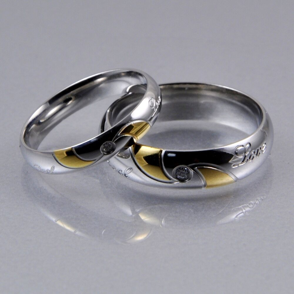 Mens Women Silver Gold Stainless Steel CZ 4mm 6mm Matching Wedding Bands Ring