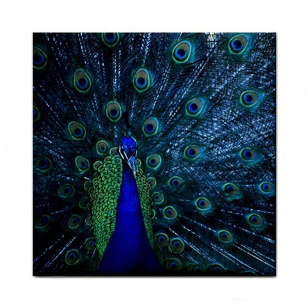 Proud Blue Peacock New Home Decor Ceramic Wall Tile Kitchen Coaster Mosiac Gift Ebay