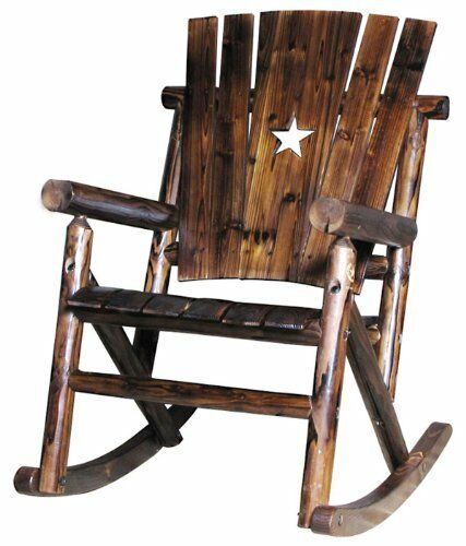 New Char Log Single Rocker W Star Patio Furniture Garden