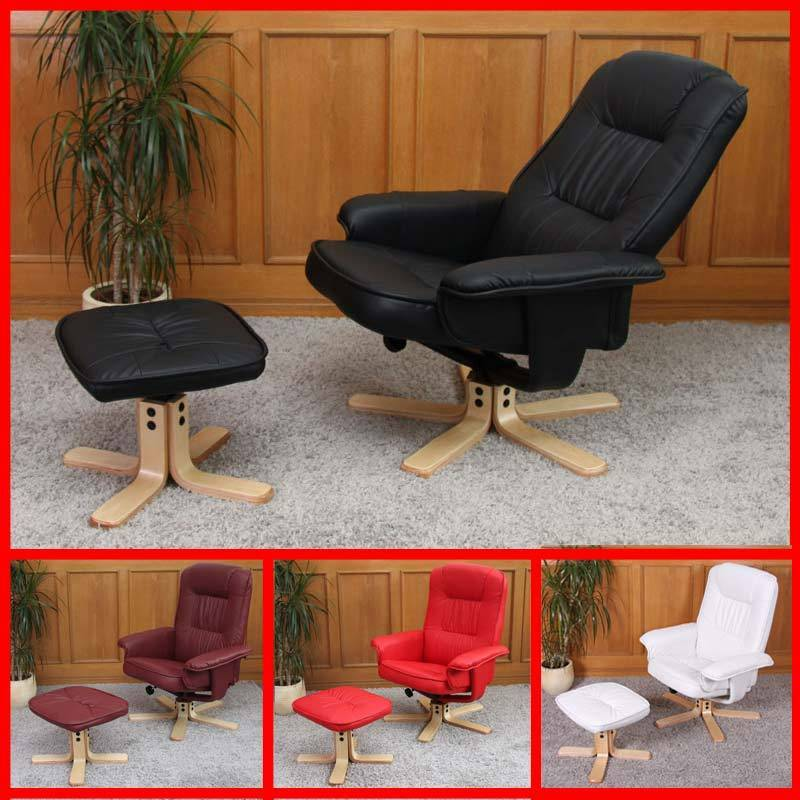 fauteuil relax de relaxation m56 avec pouf simili cuir ebay. Black Bedroom Furniture Sets. Home Design Ideas
