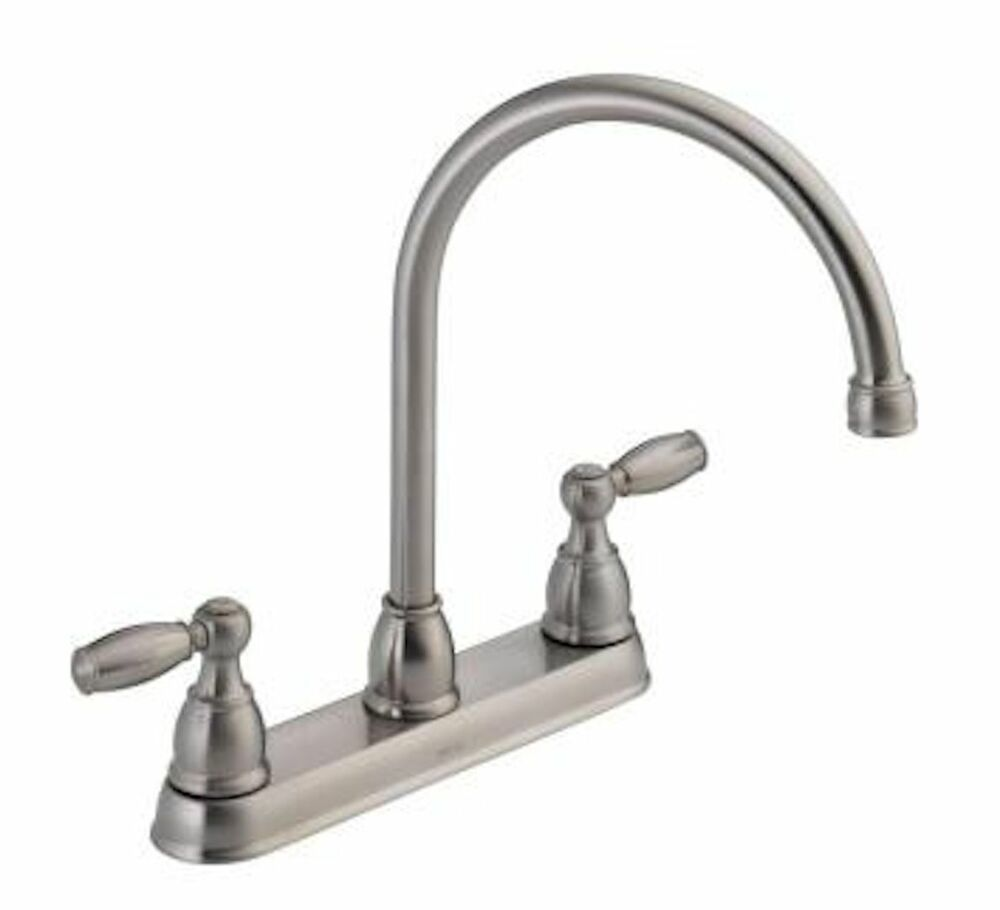 delta two handle kitchen faucet delta faucet 21987lf two handle kitchen faucet chrome ebay 23519