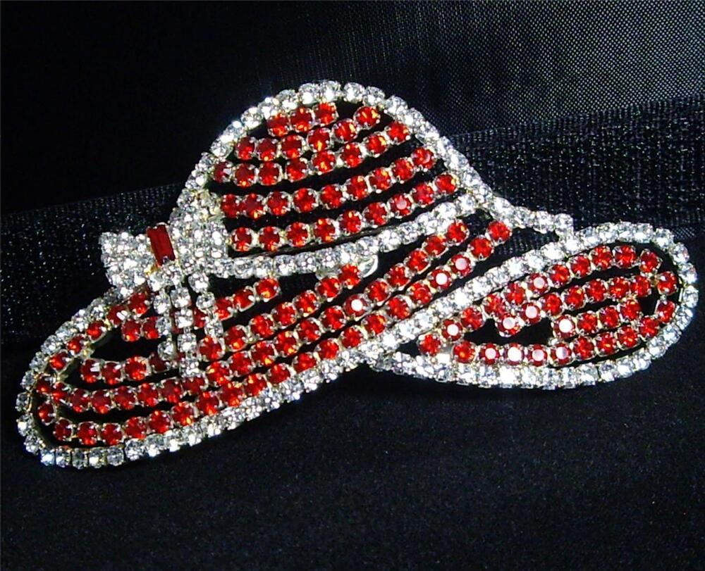 Gorgeous signed otc large rhinestone red hat society pin for Red hat bling jewelry