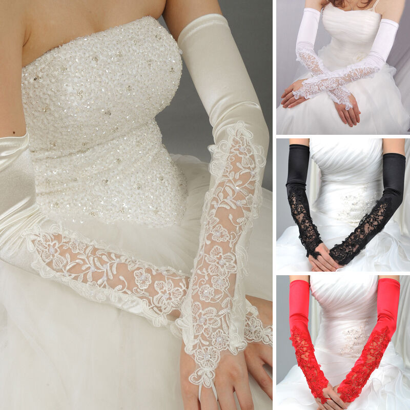 4 Colors Opera Length Fingerless Stretchy Long Satin Lace ...