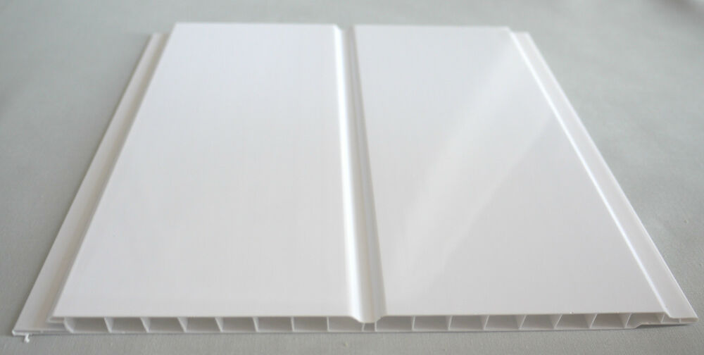 9 gloss white twin wet wall panels pvc ceiling kitchen cladding bathroom shower ebay for Plastic ceiling panels bathroom