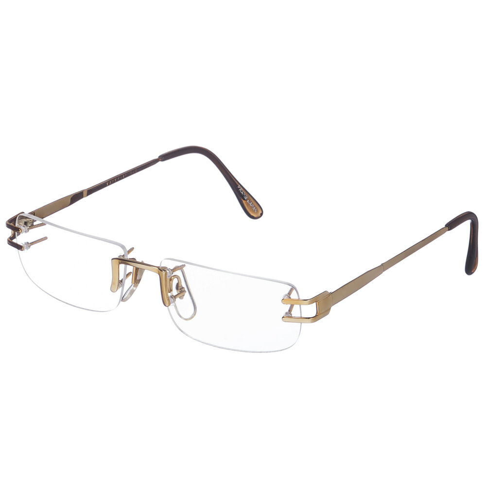 Japanese Frameless Glasses : NEW But VINTAGE Old GOLD MENS RIMLESS EYEGLASS FRAMES ...