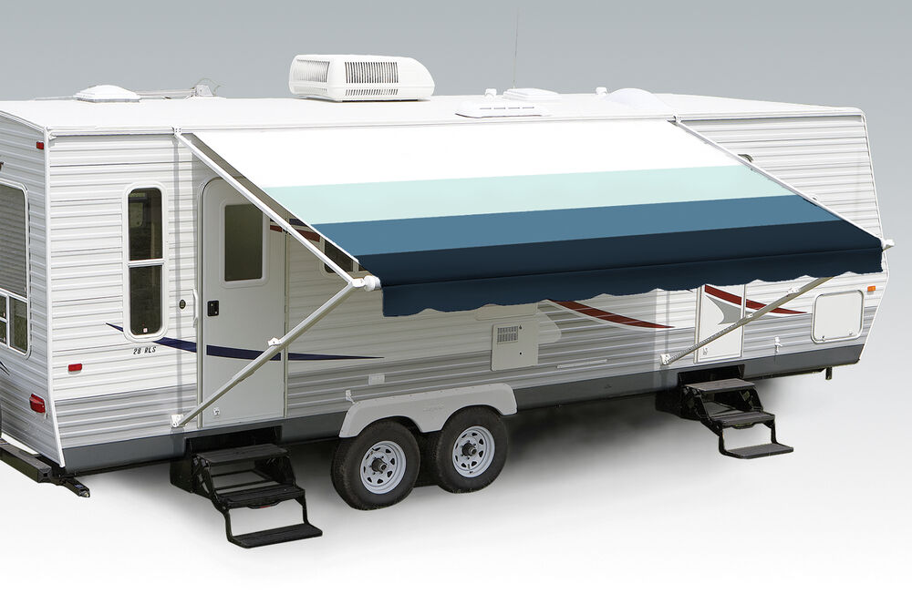 Awnings For Rvs : Pacific blue w wht g rv patio awning