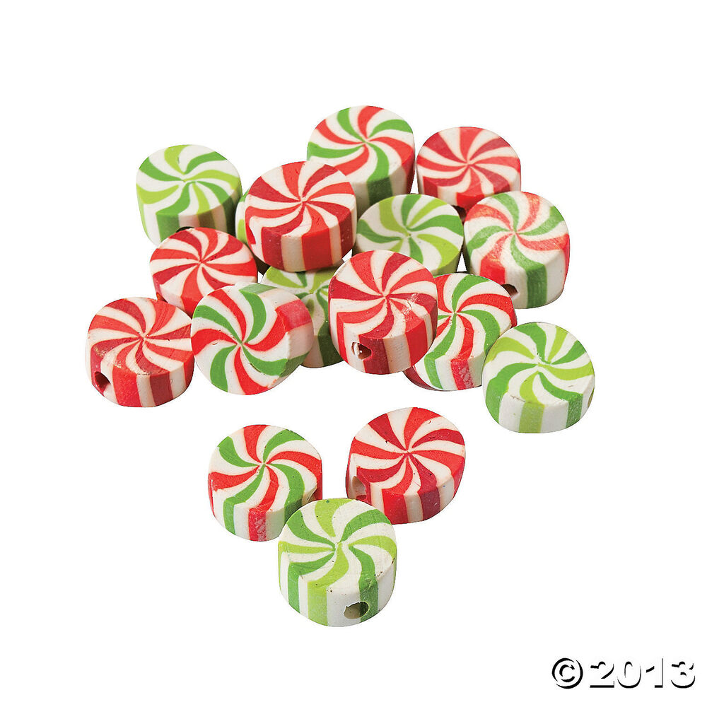 50 Christmas Holiday Winter Candy Shaped Peppermint Beads