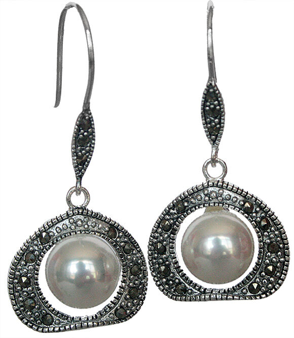 10mm White Shell Pearl Marcasite 925 Sterling Silver ...