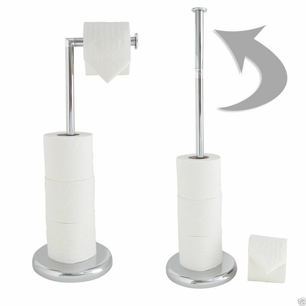 Chrome Free Standing Toilet Roll Holder With Extra Rolls