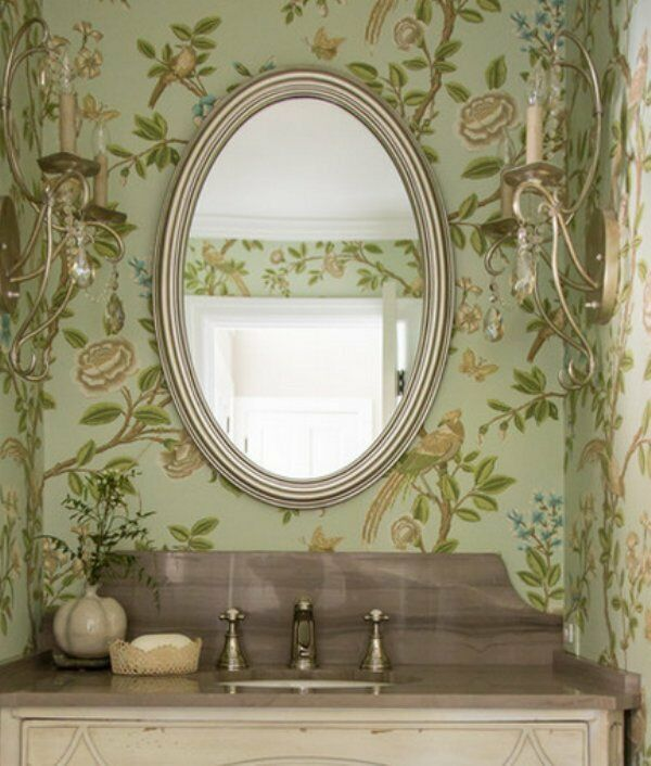 Gorgeous Silver Leaf Oval Vanity Wall Mirror Bathroom
