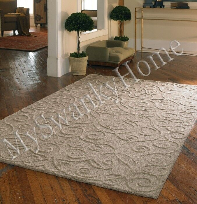8 X 10 Hand Tufted Beige Tan Embossed Scroll Wool Area Rug