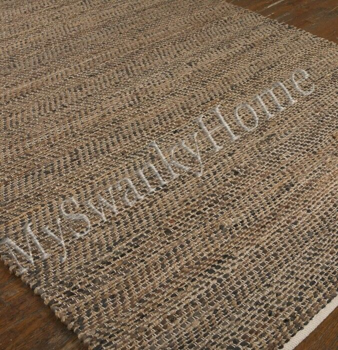 5 X 8 Hand Woven Brown Rescued Leather Area Rug Neiman
