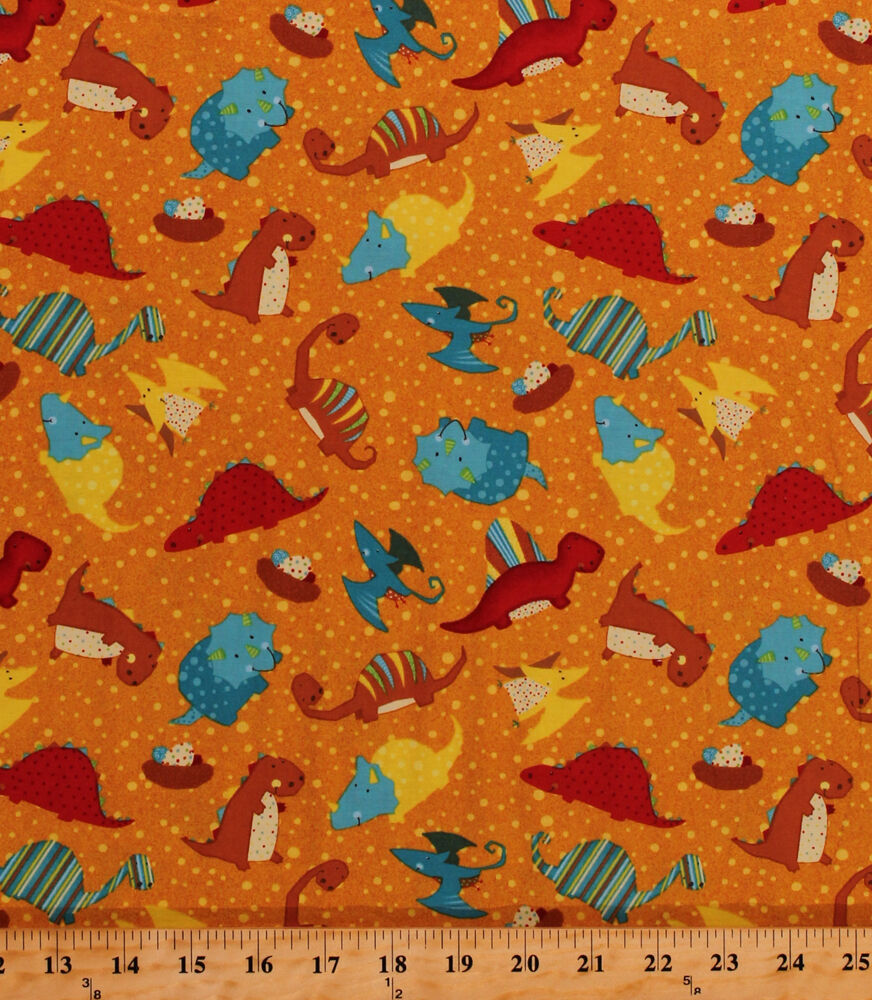 Classic jurassic dino toss orange dinosaurs kids cotton for Kids cotton fabric