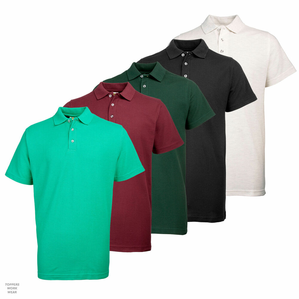 Mens rty poly cotton pique polo shirt work casual leisure for Mens work polo shirts