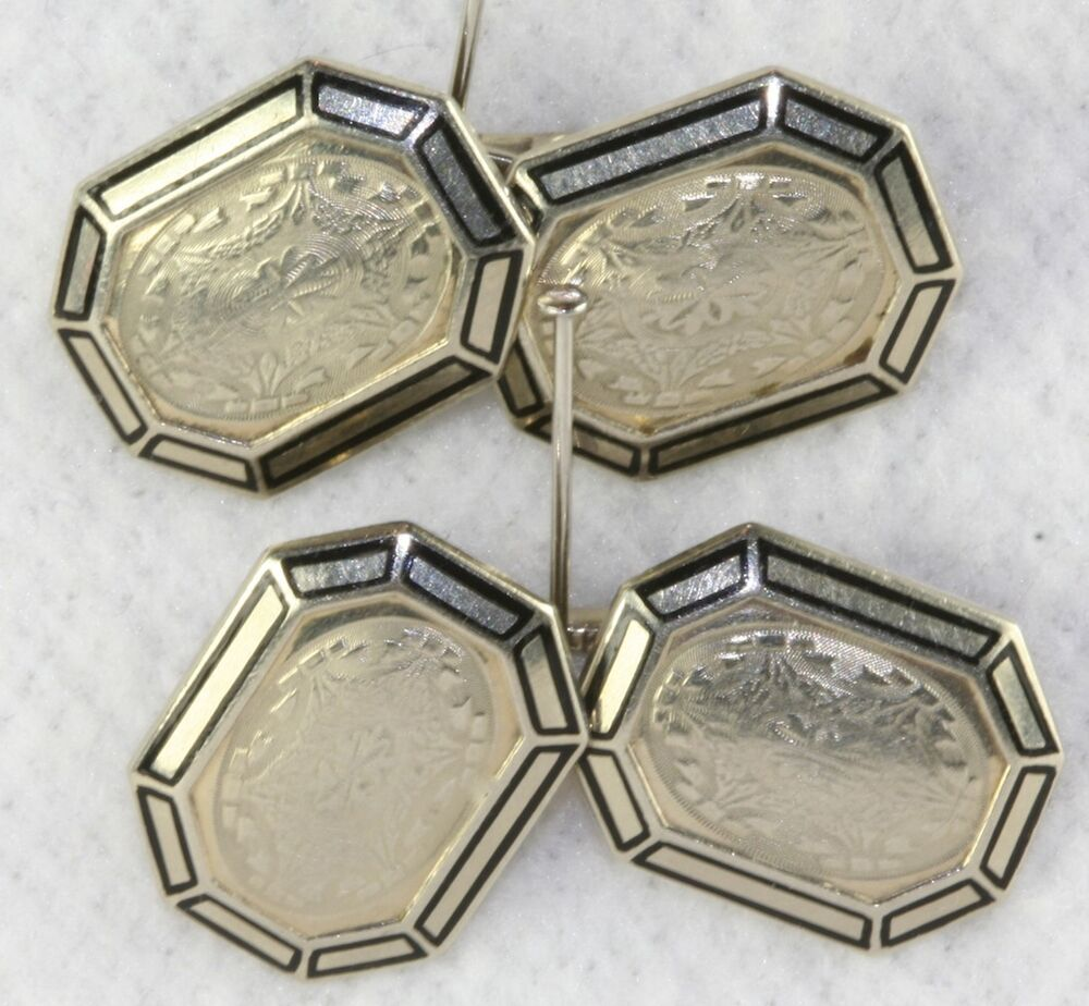 1920 39 s vintage antique art deco 14k white gold enamel cufflinks 10 grams ebay. Black Bedroom Furniture Sets. Home Design Ideas