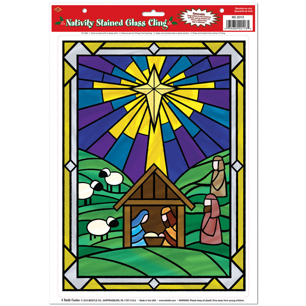 1 christmas window clings bethlehem religious nativity stained glass cling ebay. Black Bedroom Furniture Sets. Home Design Ideas