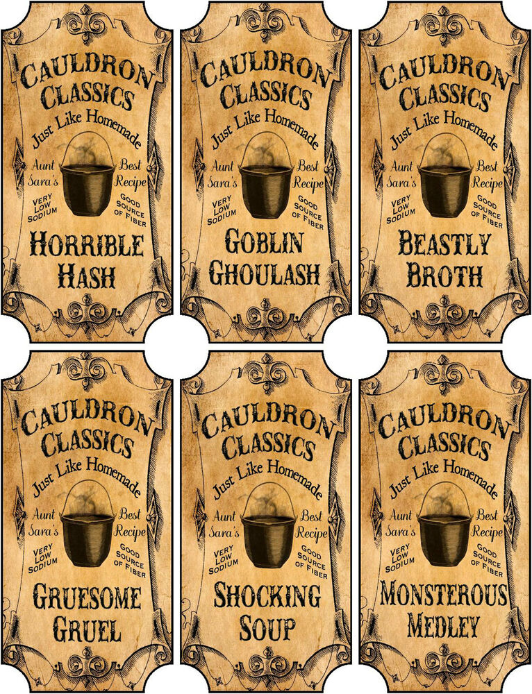 Vintage inspired Halloween 6 large bottle label cauldron ...