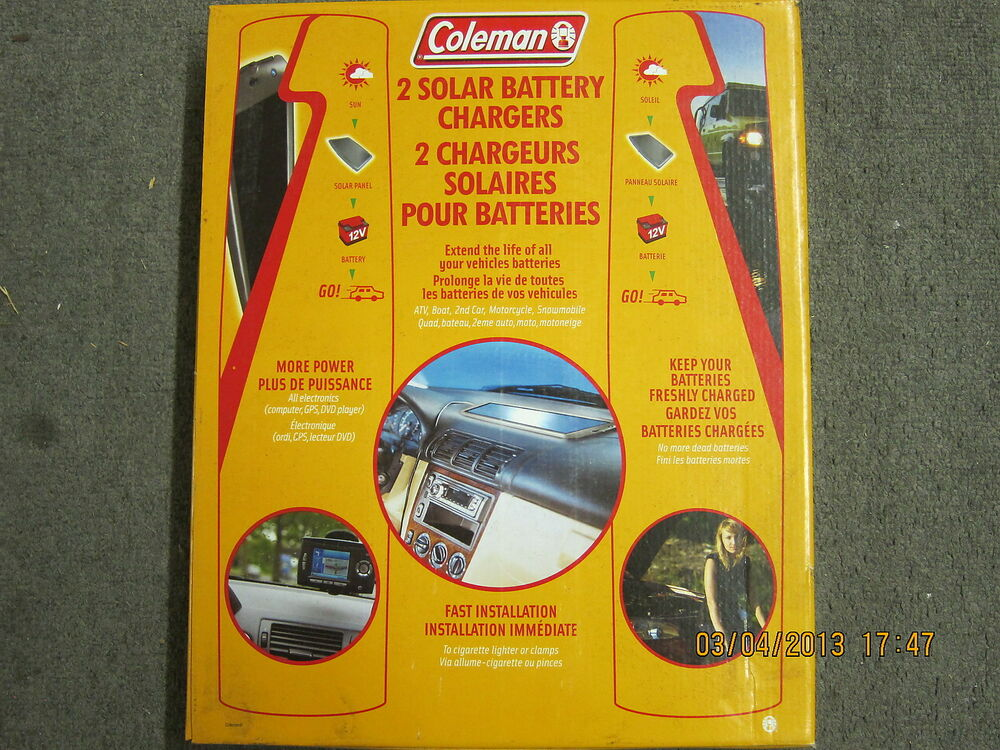 Coleman 72200 2 Solar Battery Chargers 2x Cl 100 Ebay