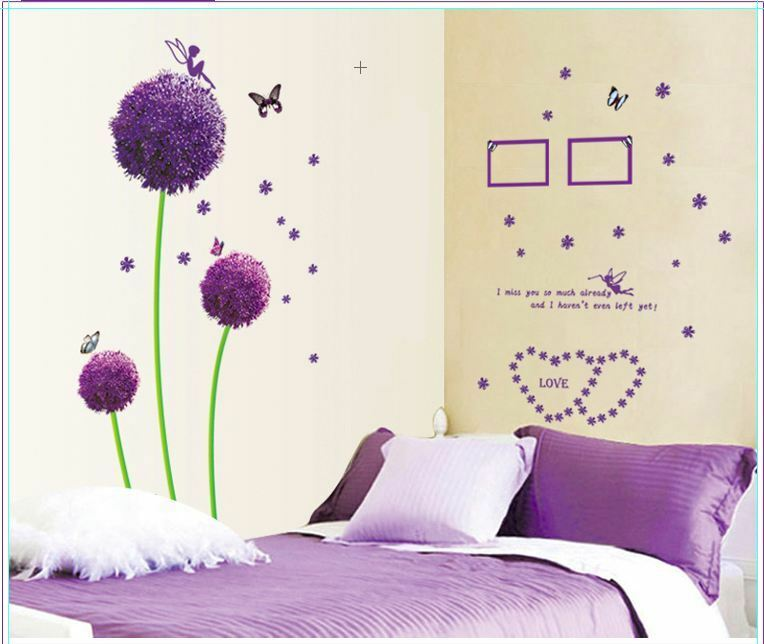Purple Dandelion Flowers Butterfly Fairy Wall Stickers