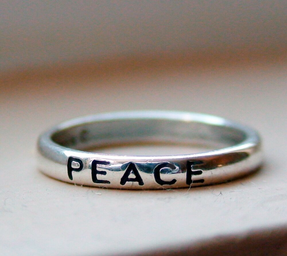 peace ring 925 sterling silver engraved stacking band. Black Bedroom Furniture Sets. Home Design Ideas