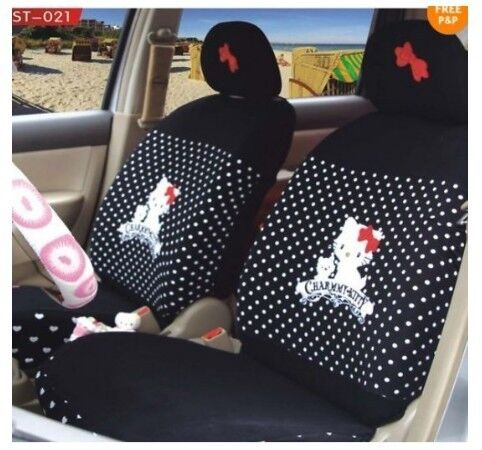 10pcs Black Universal Hello Kitty Car Seat Covers Front Rear Cover Accessory Set Ebay