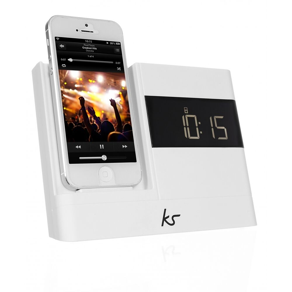 kitsound xdock2 audio speaker dock docking station lightning ipod iphone 5 white ebay. Black Bedroom Furniture Sets. Home Design Ideas