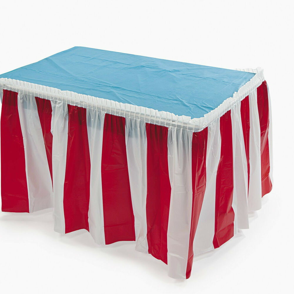 Circus carnival big top decoration pleated red and white for Table design cloth