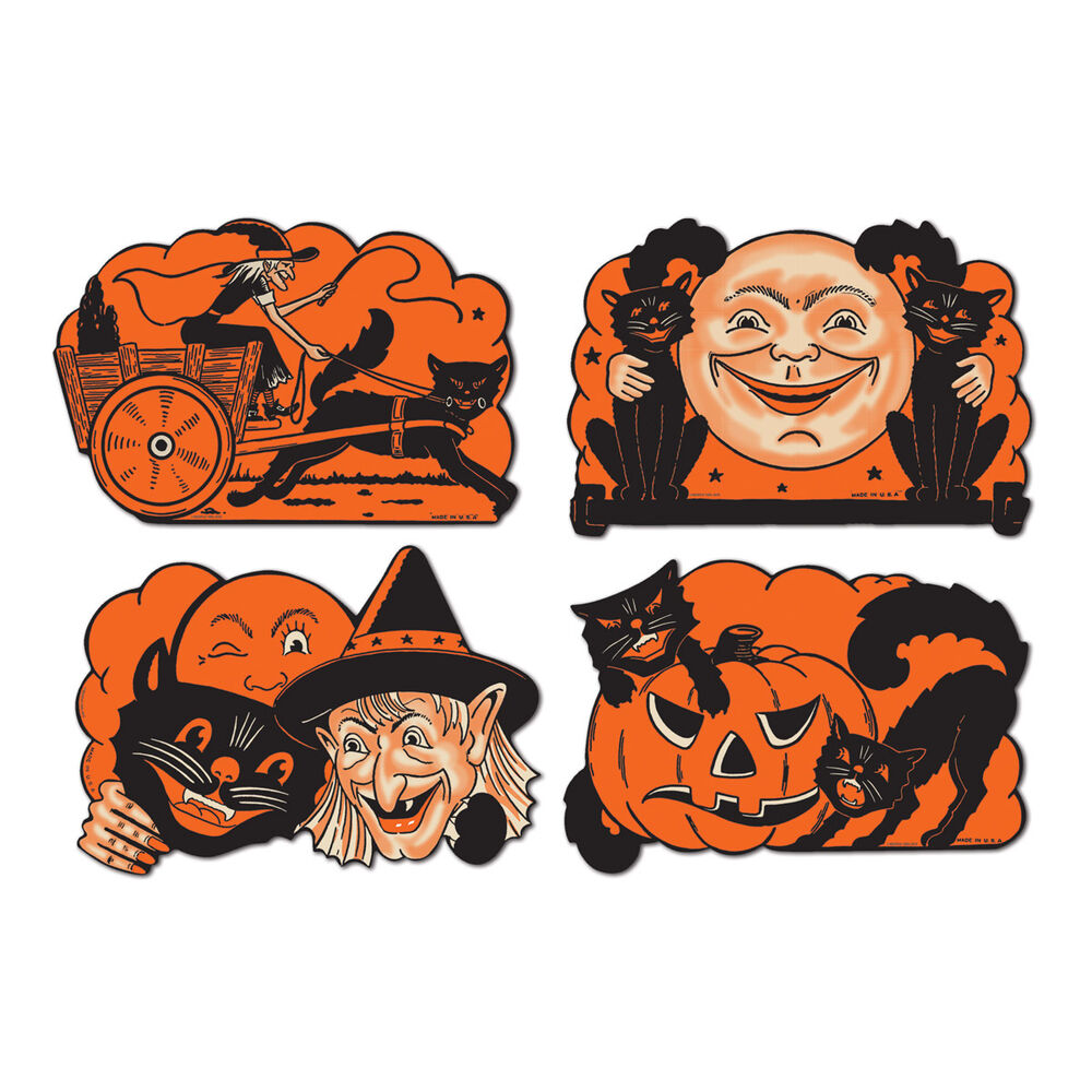 4 retro halloween decorations die cut cutouts vintage Vintage halloween decorations uk